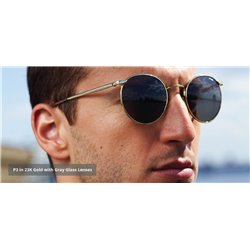 Randolph Sunglasses P3 Gold Frame Grey Lensses