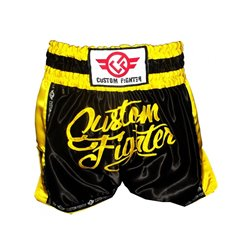MUAY THAI Shorts CUSTOM FIGHTER RETRO NEGRO AMARILLO